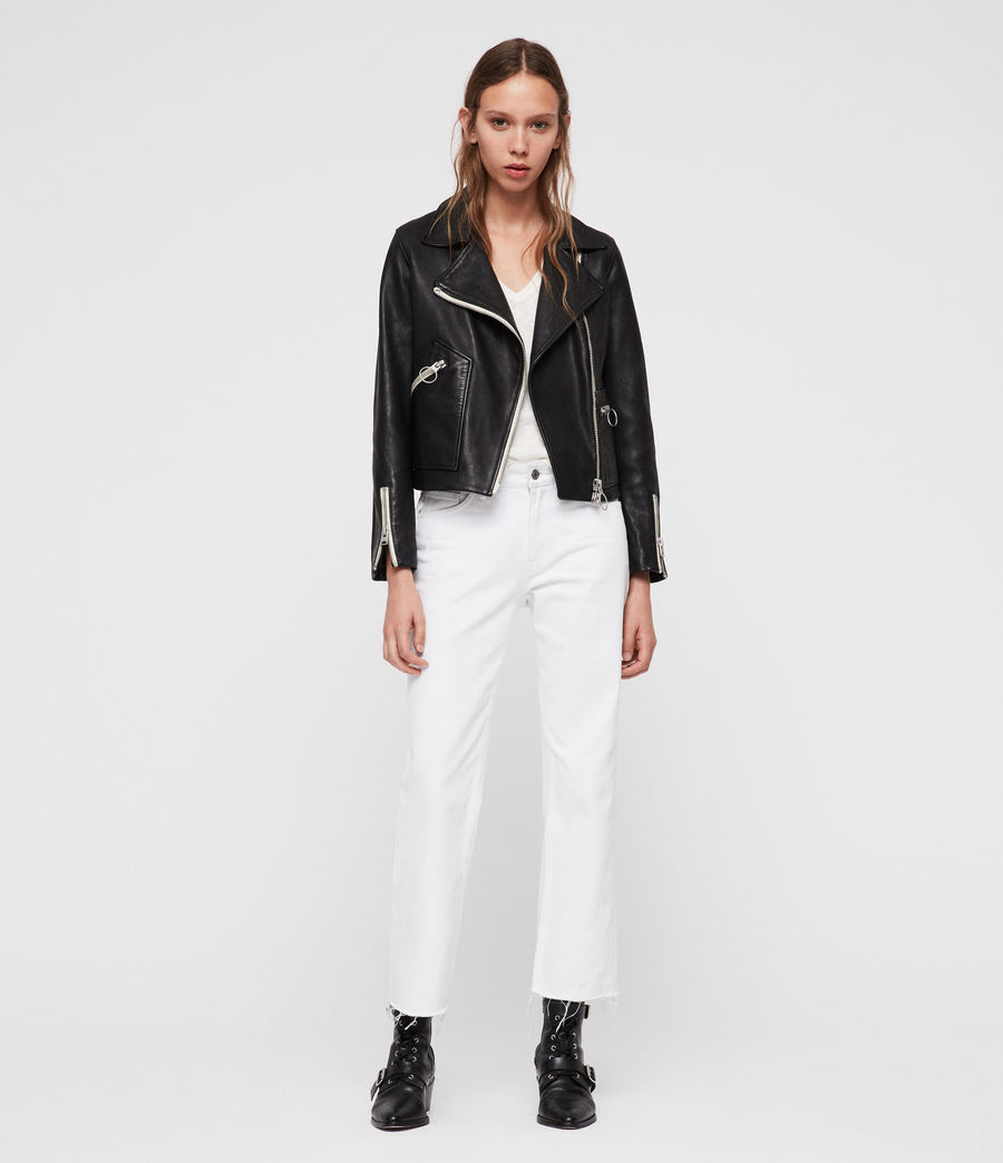 Women's Eada Leather Biker Jacket (black) - Image 3