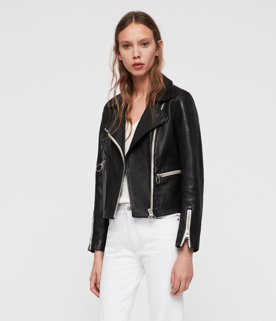 Women's Eada Leather Biker Jacket (black) - Image 4