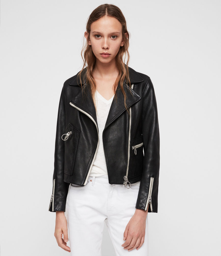 Women's Eada Leather Biker Jacket (black) - Image 5