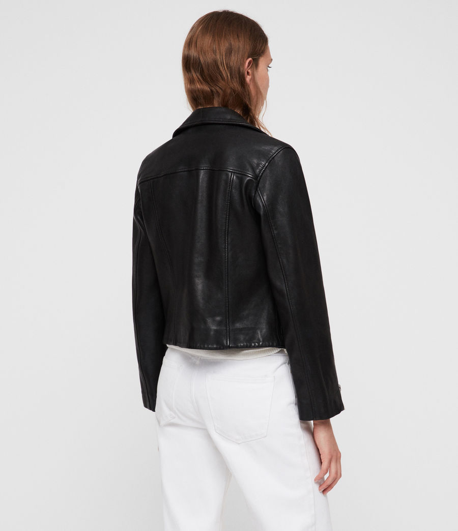 Women's Eada Leather Biker Jacket (black) - Image 6