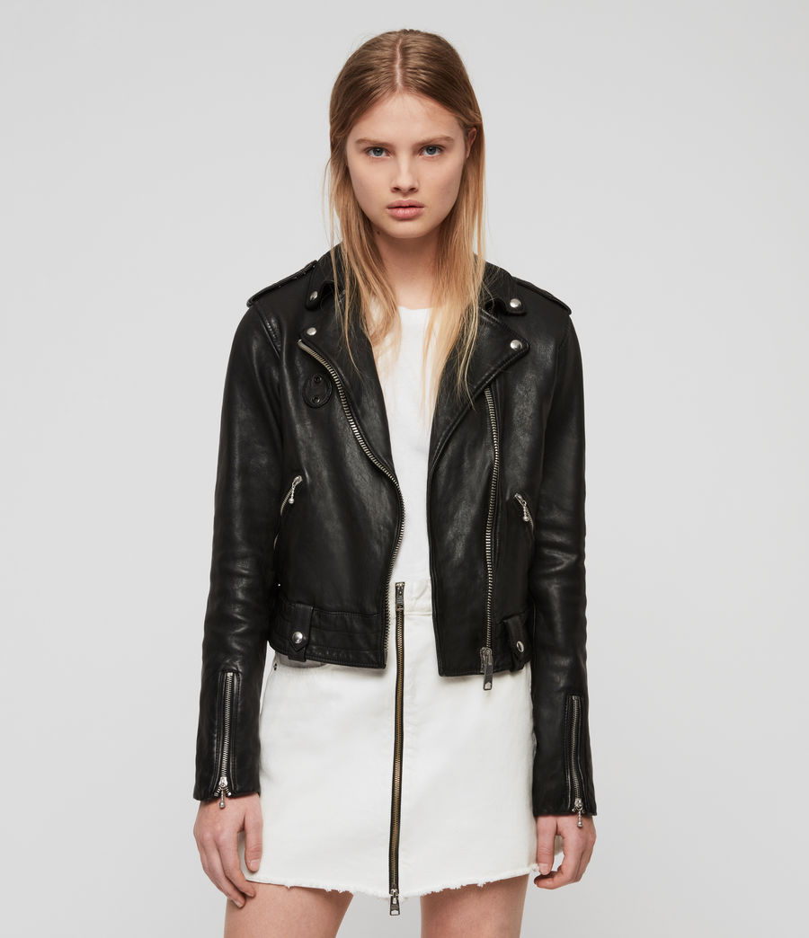 Womens Vixon Leather Biker Jacket (black) - Image 1