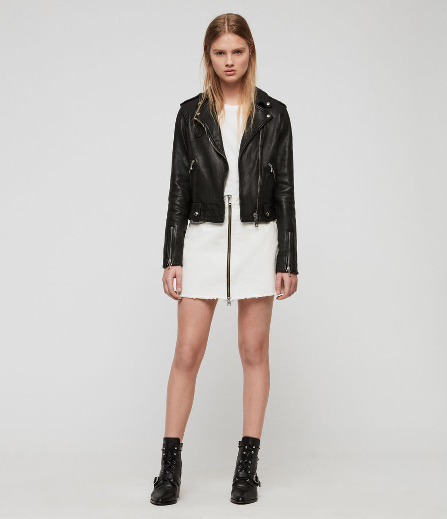 Womens Vixon Leather Biker Jacket (black) - Image 3