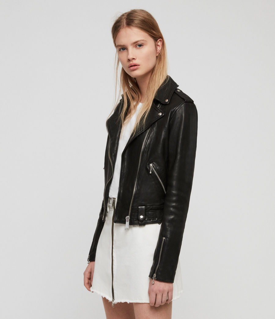 Womens Vixon Leather Biker Jacket (black) - Image 4