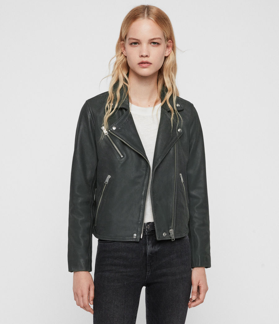 Women's Arden Leather Biker Jacket (black) - Image 1