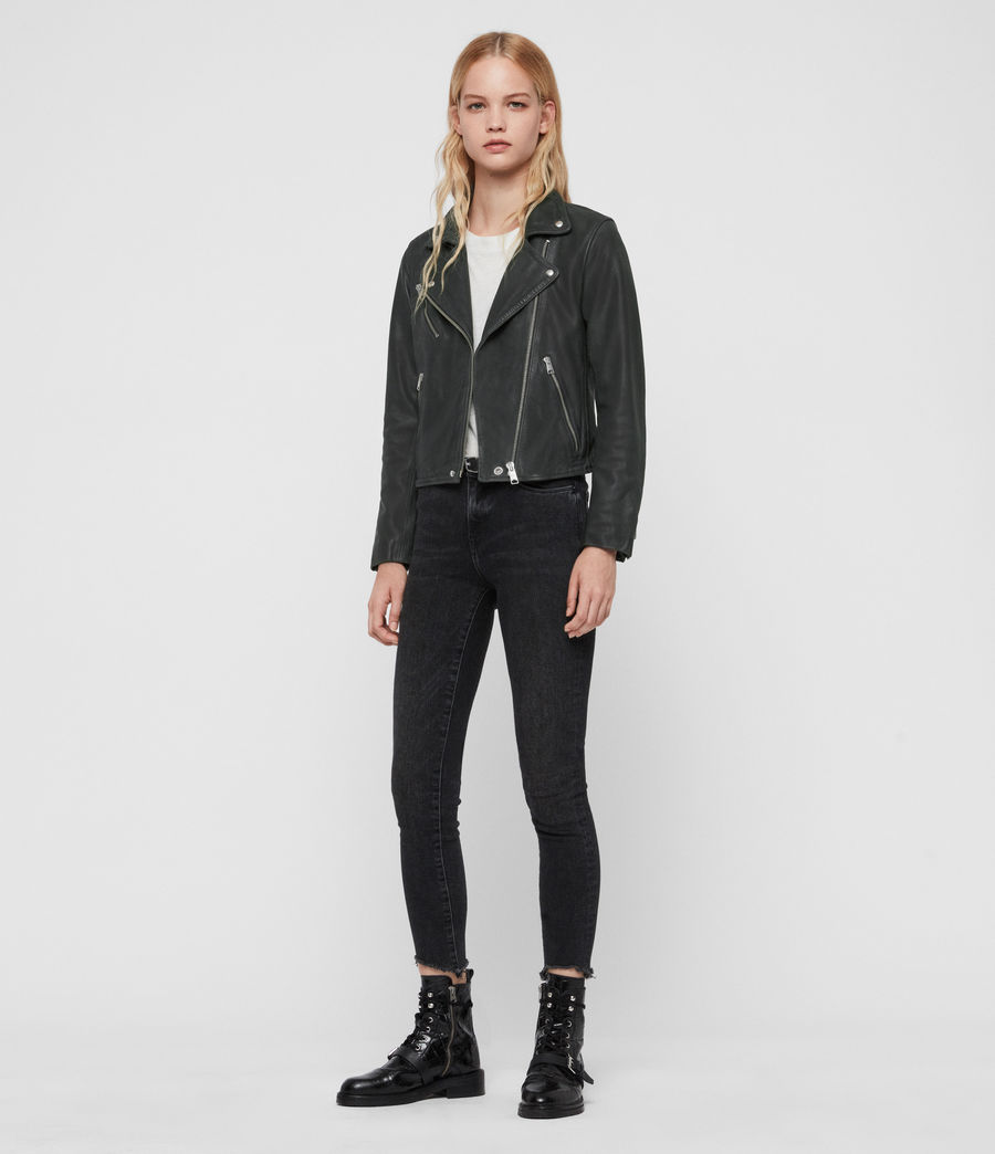 Women's Arden Leather Biker Jacket (black) - Image 3