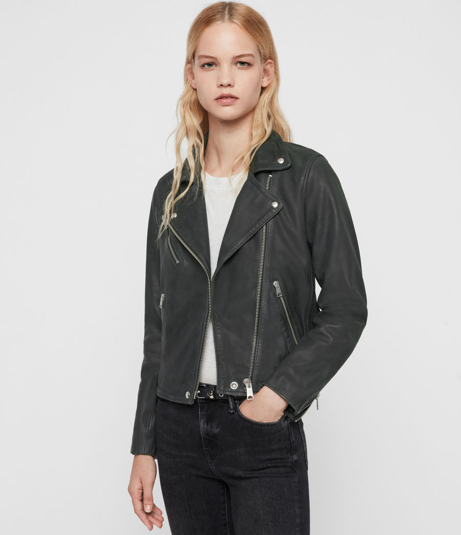 Women's Arden Leather Biker Jacket (black) - Image 5