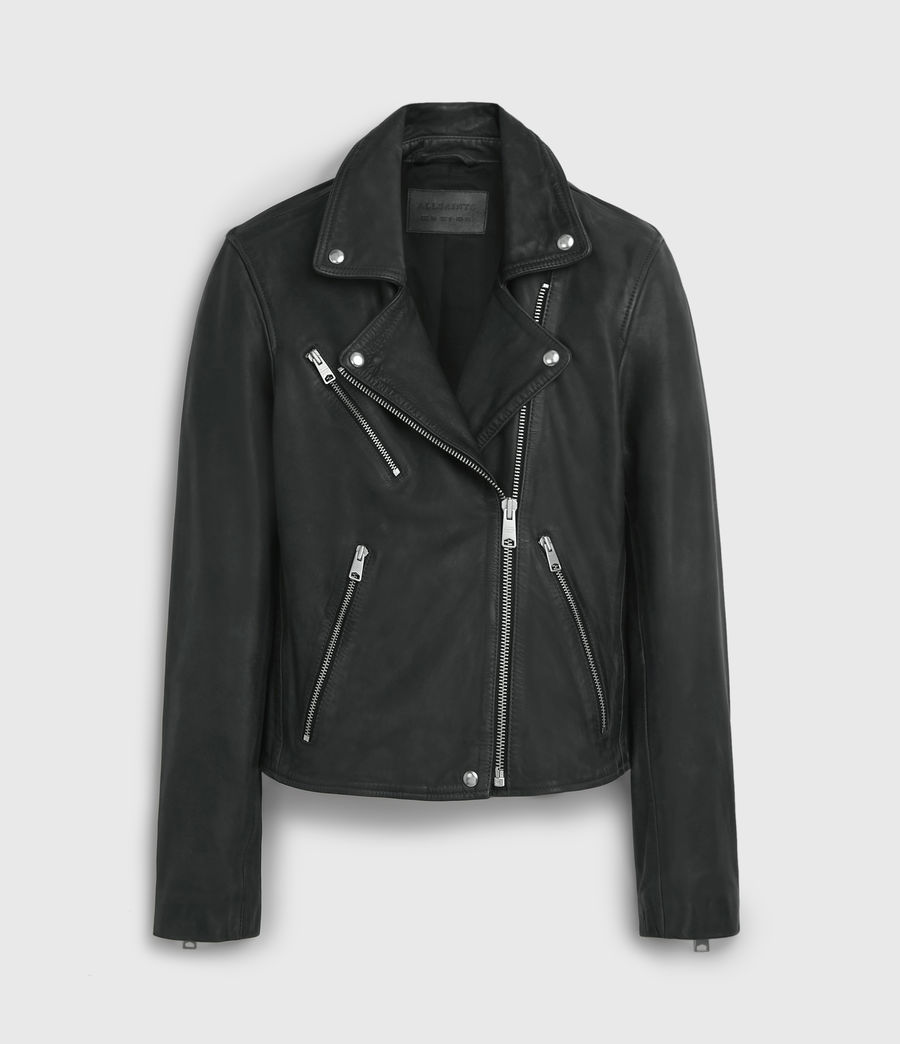 Women's Arden Leather Biker Jacket (black) - Image 7