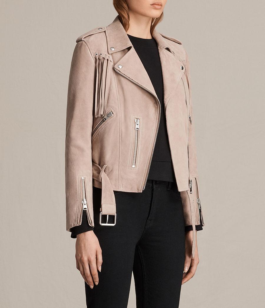 Womens Tassel Balfern Suede Biker Jacket (dusty_pink) - Image 5