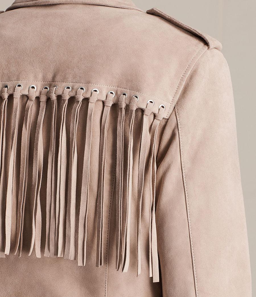 Womens Tassel Balfern Suede Biker Jacket (dusty_pink) - Image 6