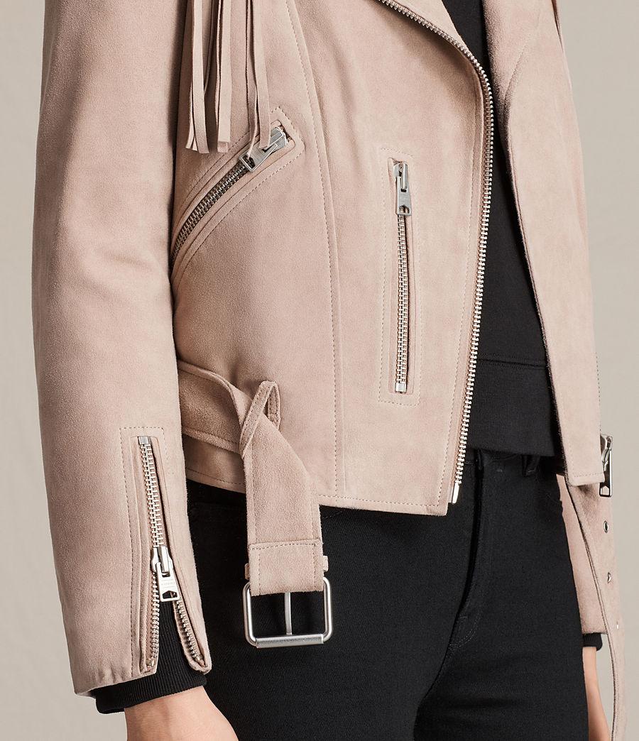 Womens Tassel Balfern Suede Biker Jacket (dusty_pink) - Image 7