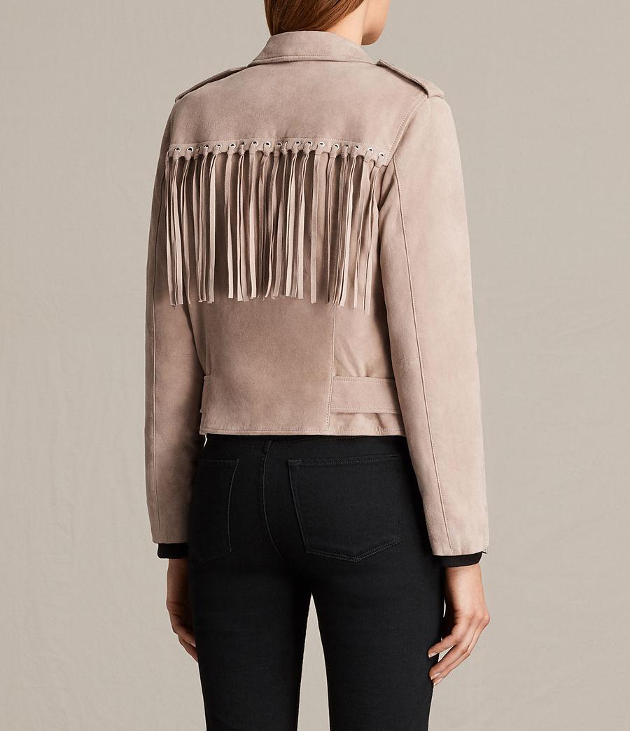 Womens Tassel Balfern Suede Biker Jacket (dusty_pink) - Image 8