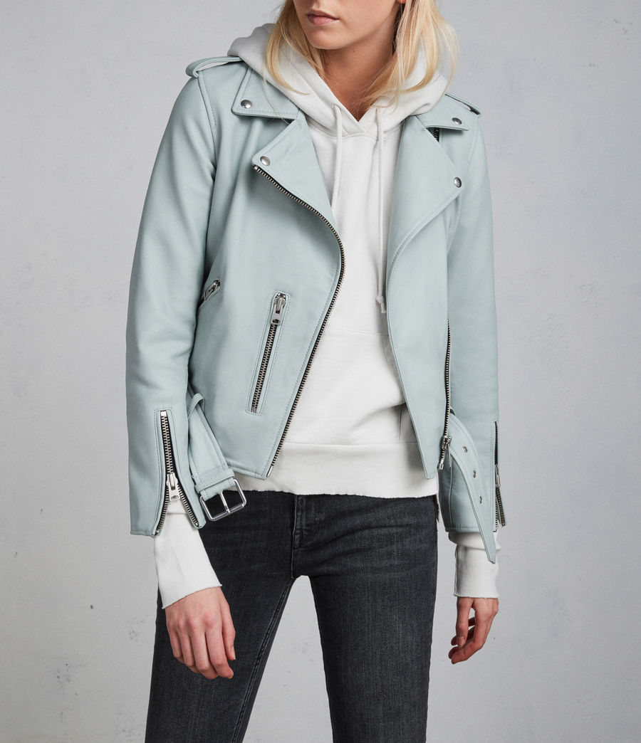 Women's Balfern Leather Biker Jacket (mint_green) - Image 2