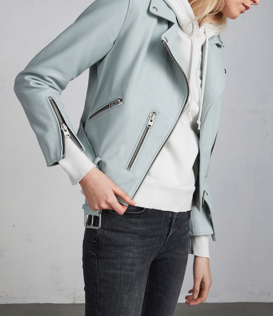 Women's Balfern Leather Biker Jacket (mint_green) - Image 3