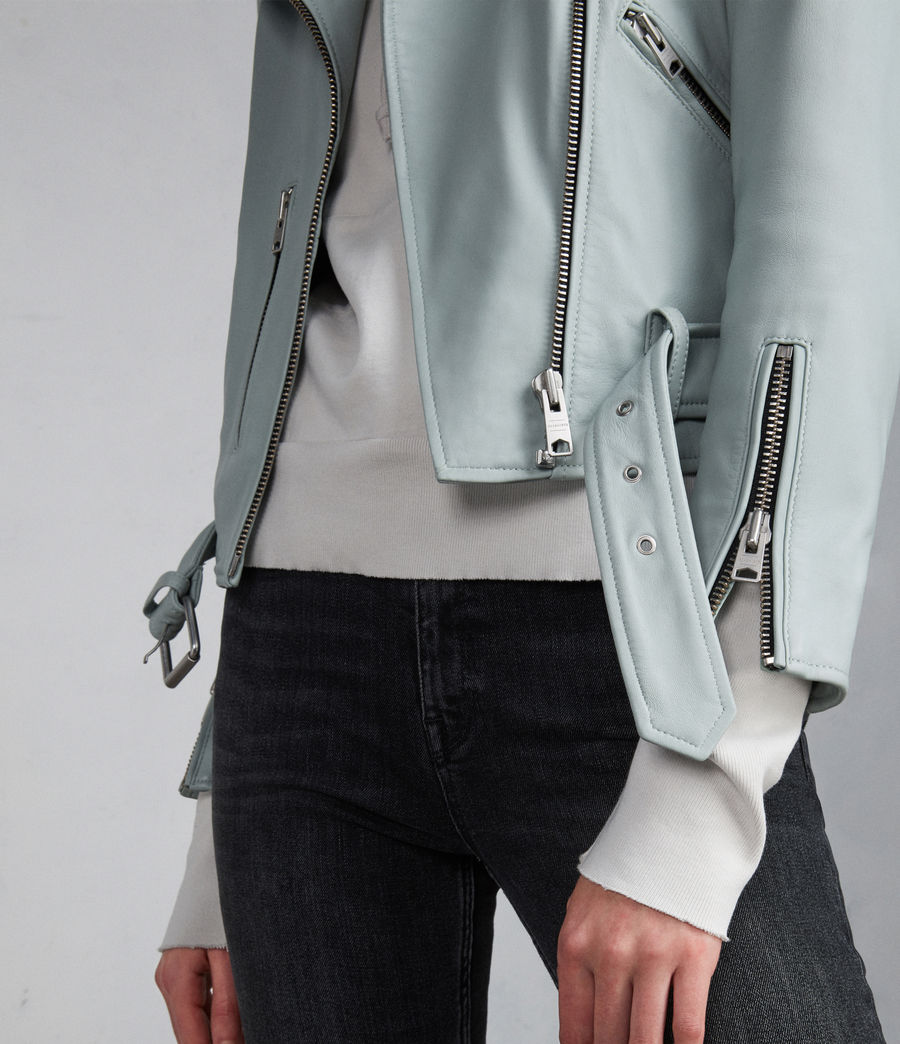 Women's Balfern Leather Biker Jacket (mint_green) - Image 4