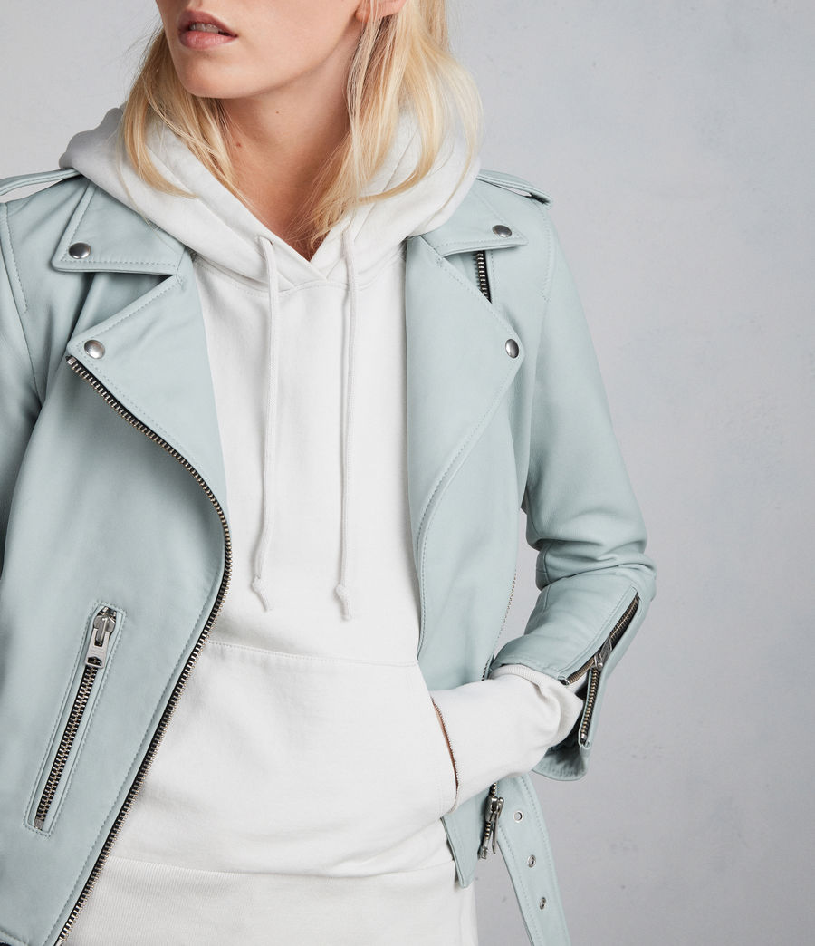 Women's Balfern Leather Biker Jacket (mint_green) - Image 6