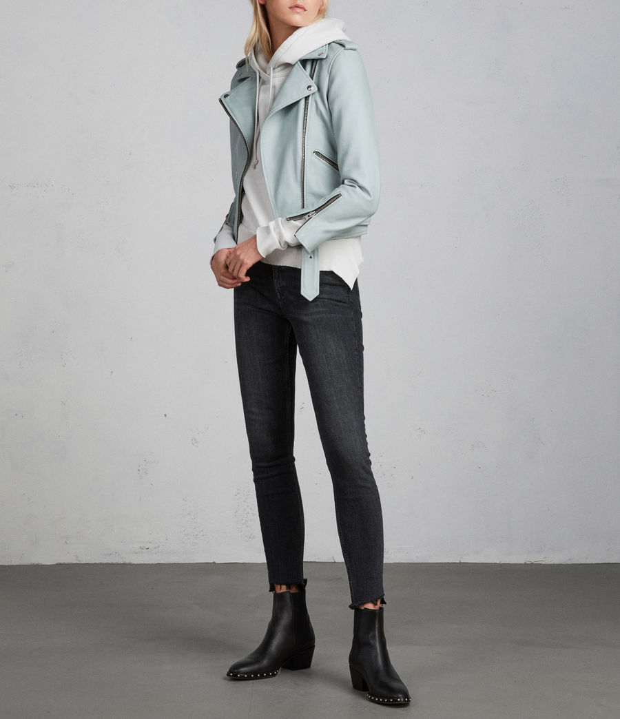Women's Balfern Leather Biker Jacket (mint_green) - Image 7