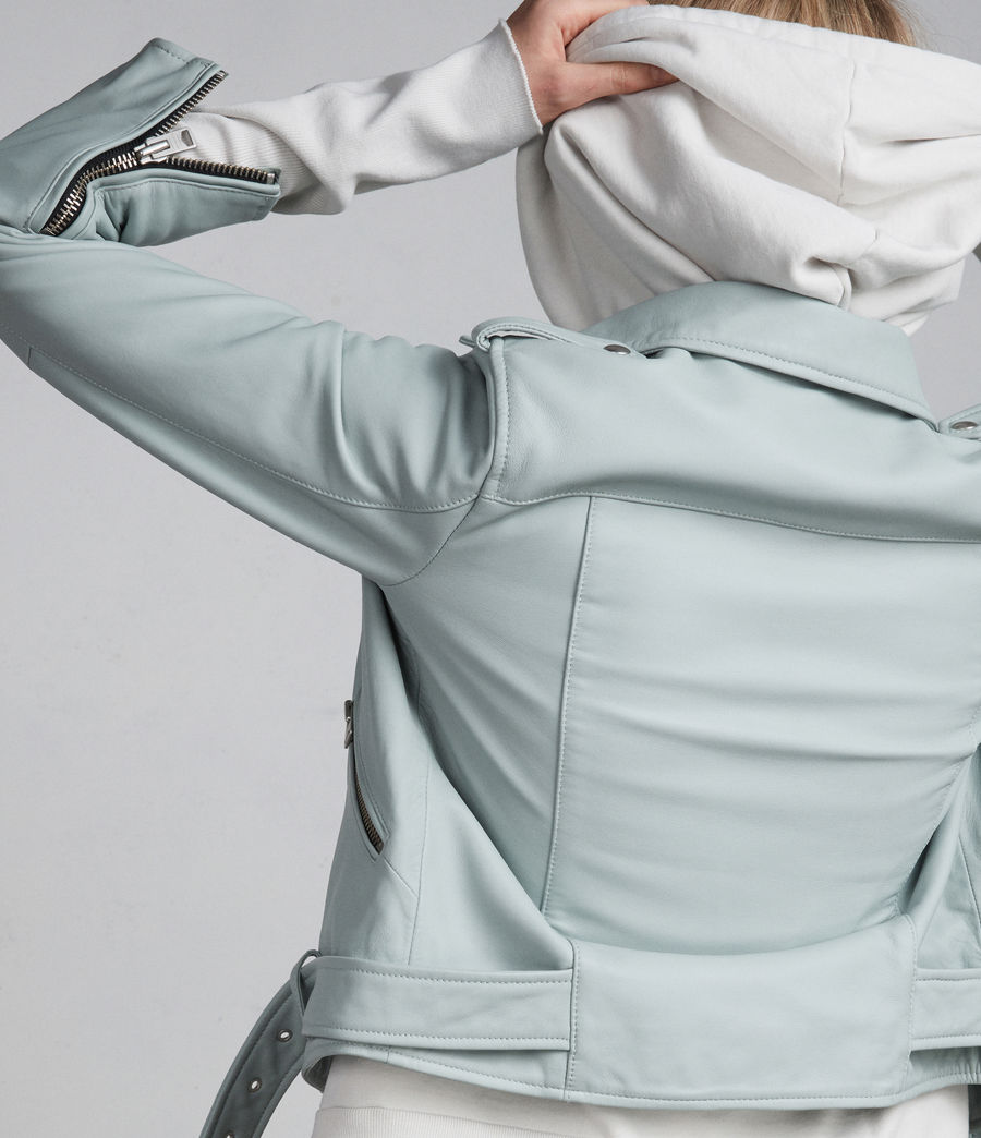 Women's Balfern Leather Biker Jacket (mint_green) - Image 8