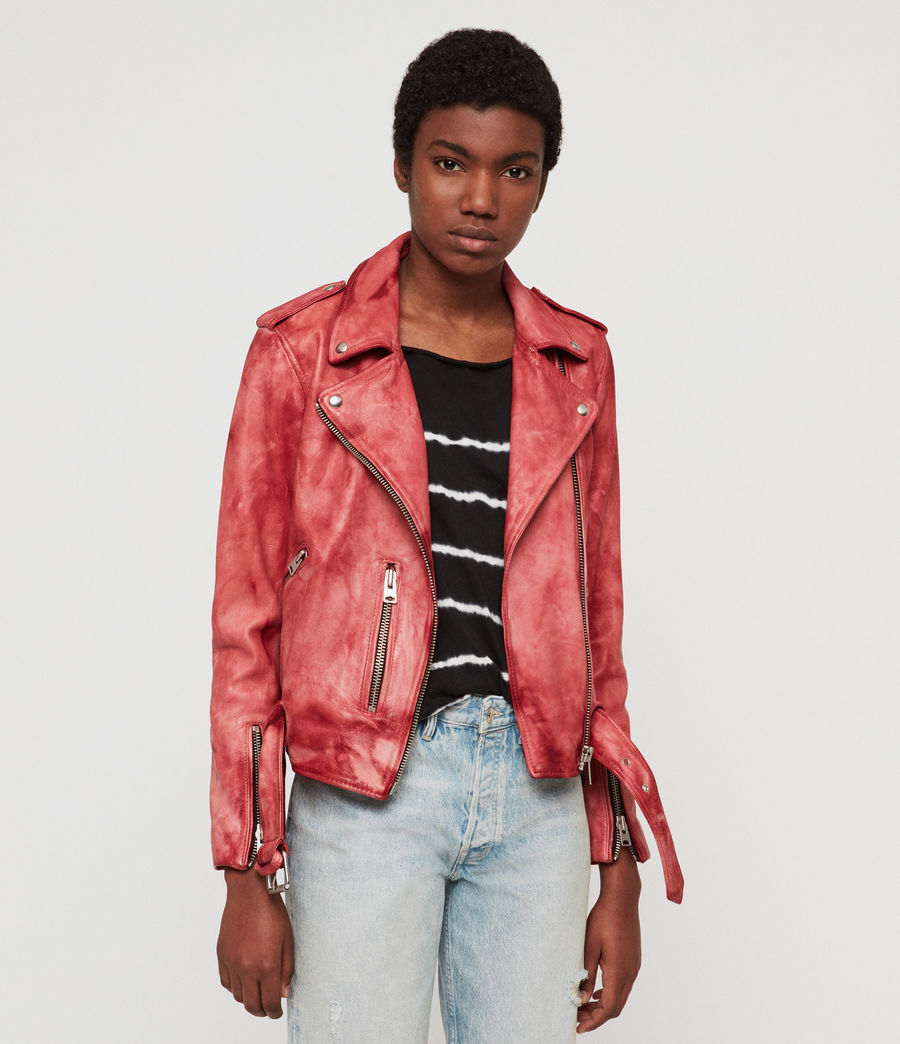 Women's Balfern Tye Dye Leather Biker Jacket (pink) - Image 1