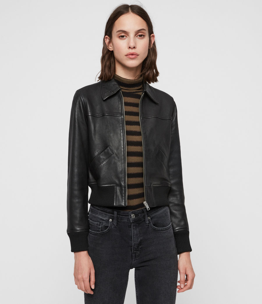 Women's Pascao Leather Bomber Jacket (black) - Image 1