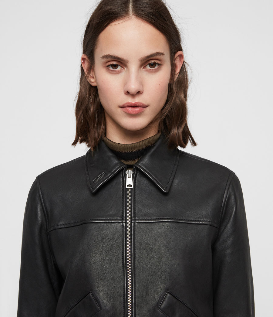 Women's Pascao Leather Bomber Jacket (black) - Image 2