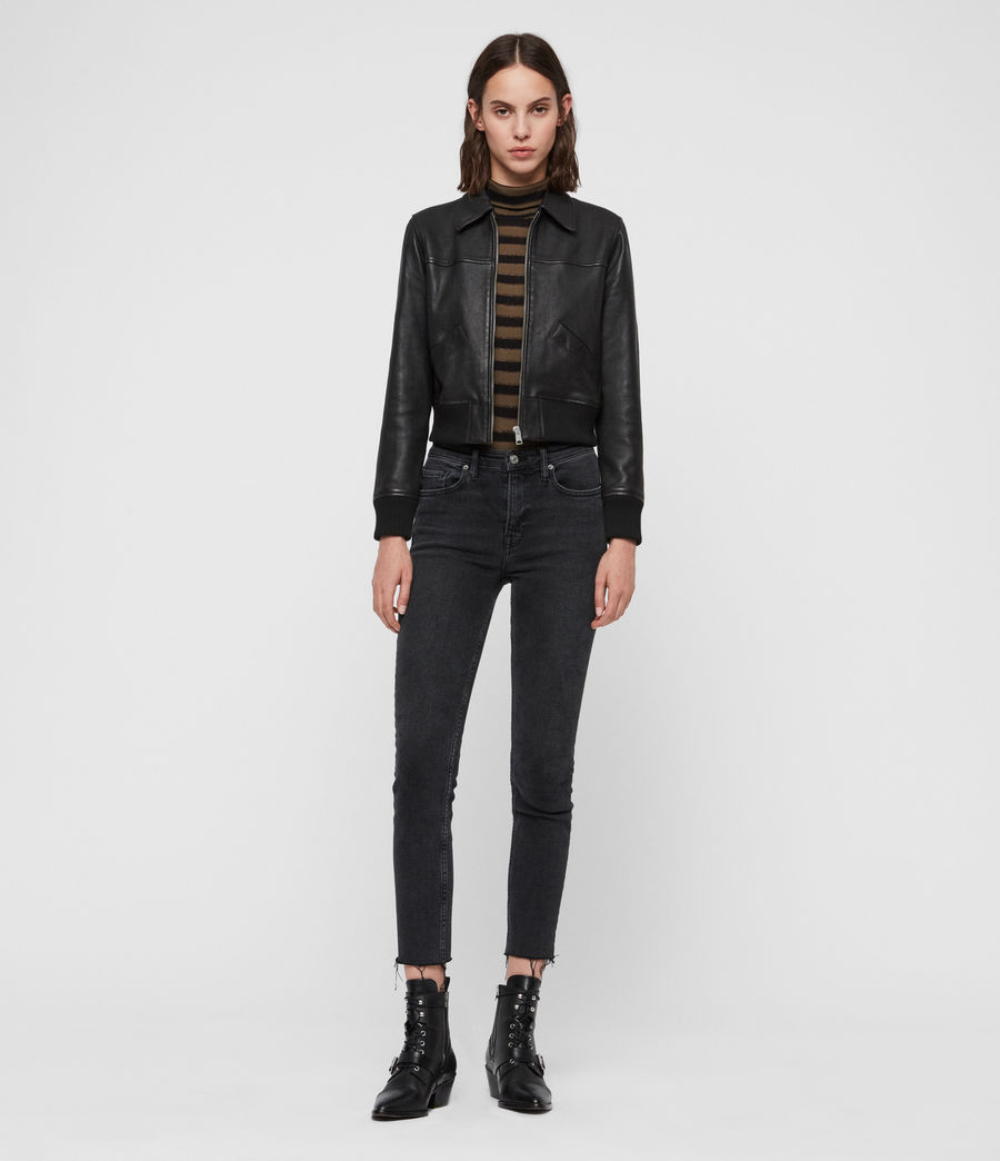 Women's Pascao Leather Bomber Jacket (black) - Image 3
