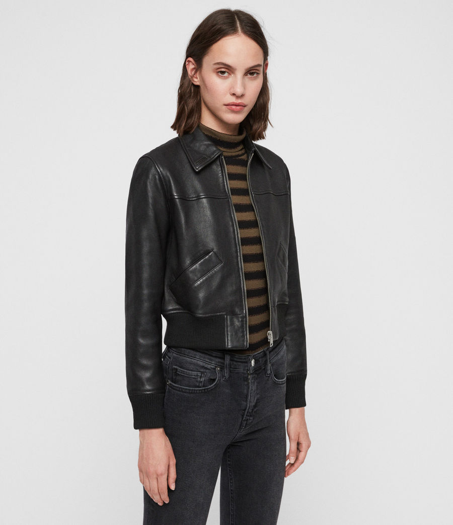 Women's Pascao Leather Bomber Jacket (black) - Image 4
