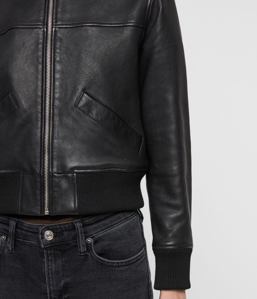 Women's Pascao Leather Bomber Jacket (black) - Image 6