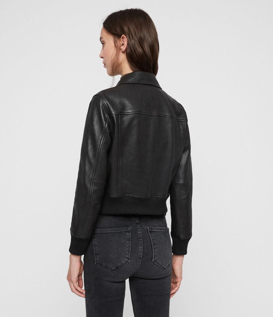 Women's Pascao Leather Bomber Jacket (black) - Image 7