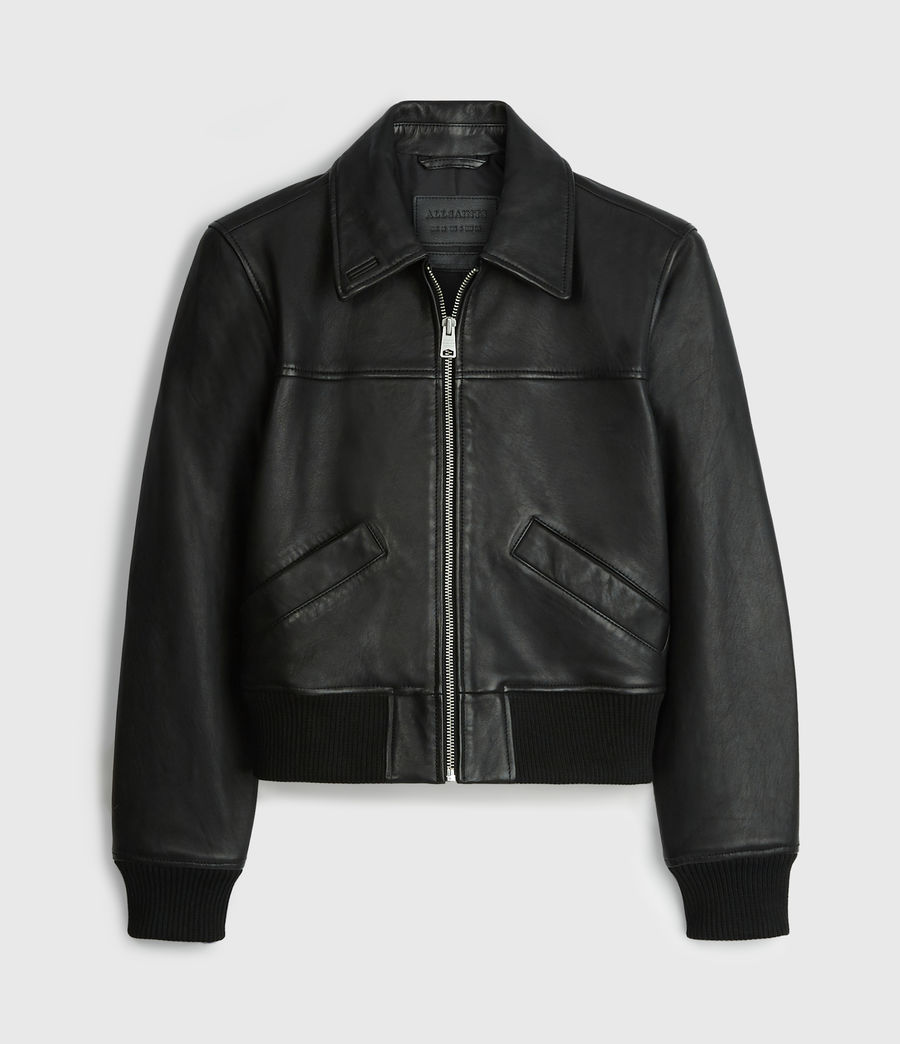 Women's Pascao Leather Bomber Jacket (black) - Image 8