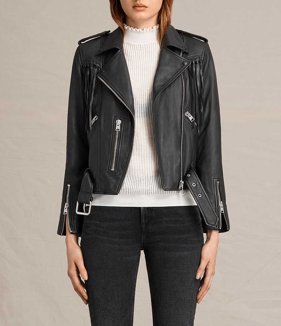 Womens Tassel Balfern Leather Biker Jacket (black) - Image 2