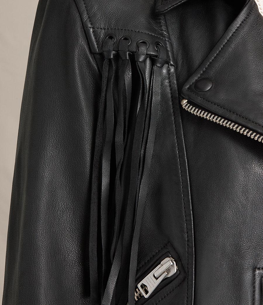 Womens Tassel Balfern Leather Biker Jacket (black) - Image 3