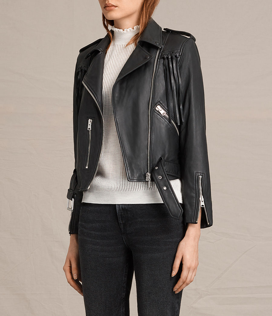 Womens Tassel Balfern Leather Biker Jacket (black) - Image 4