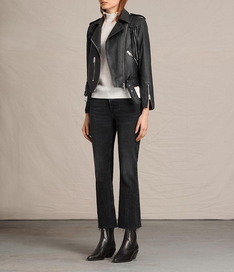 Womens Tassel Balfern Leather Biker Jacket (black) - Image 6