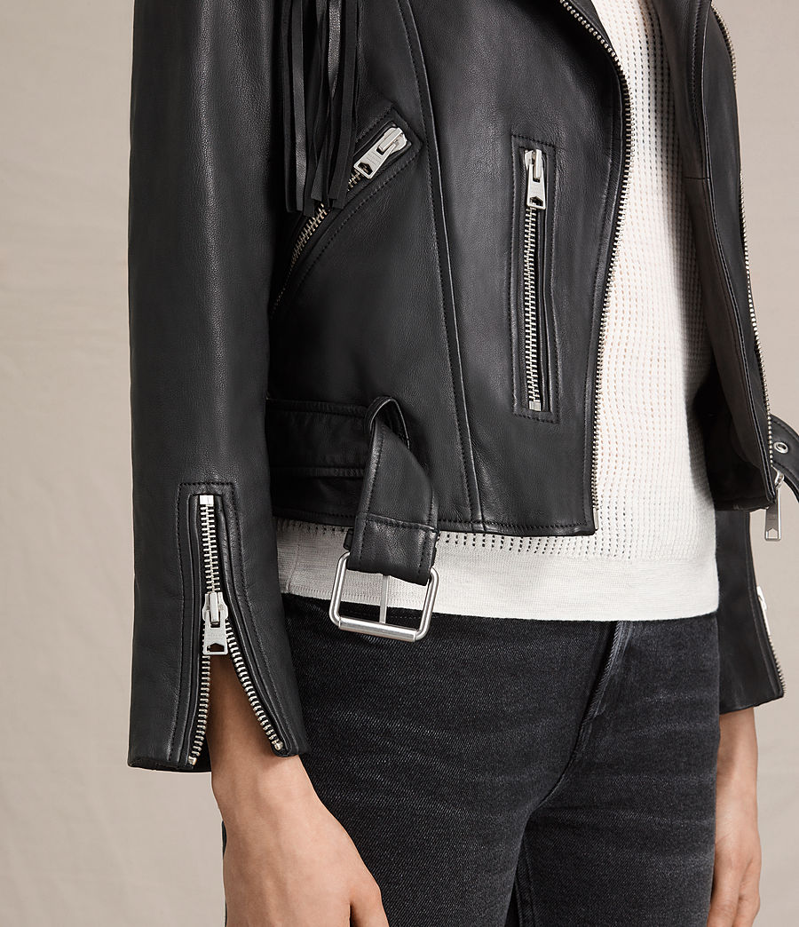 Womens Tassel Balfern Leather Biker Jacket (black) - Image 7