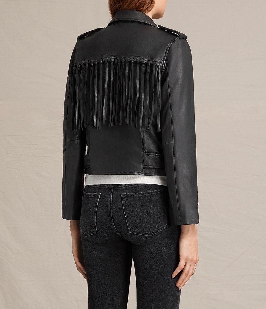 Womens Tassel Balfern Leather Biker Jacket (black) - Image 8