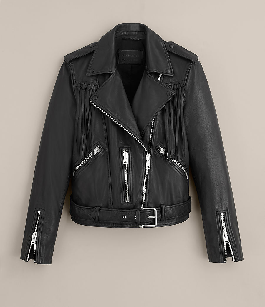Womens Tassel Balfern Leather Biker Jacket (black) - Image 9