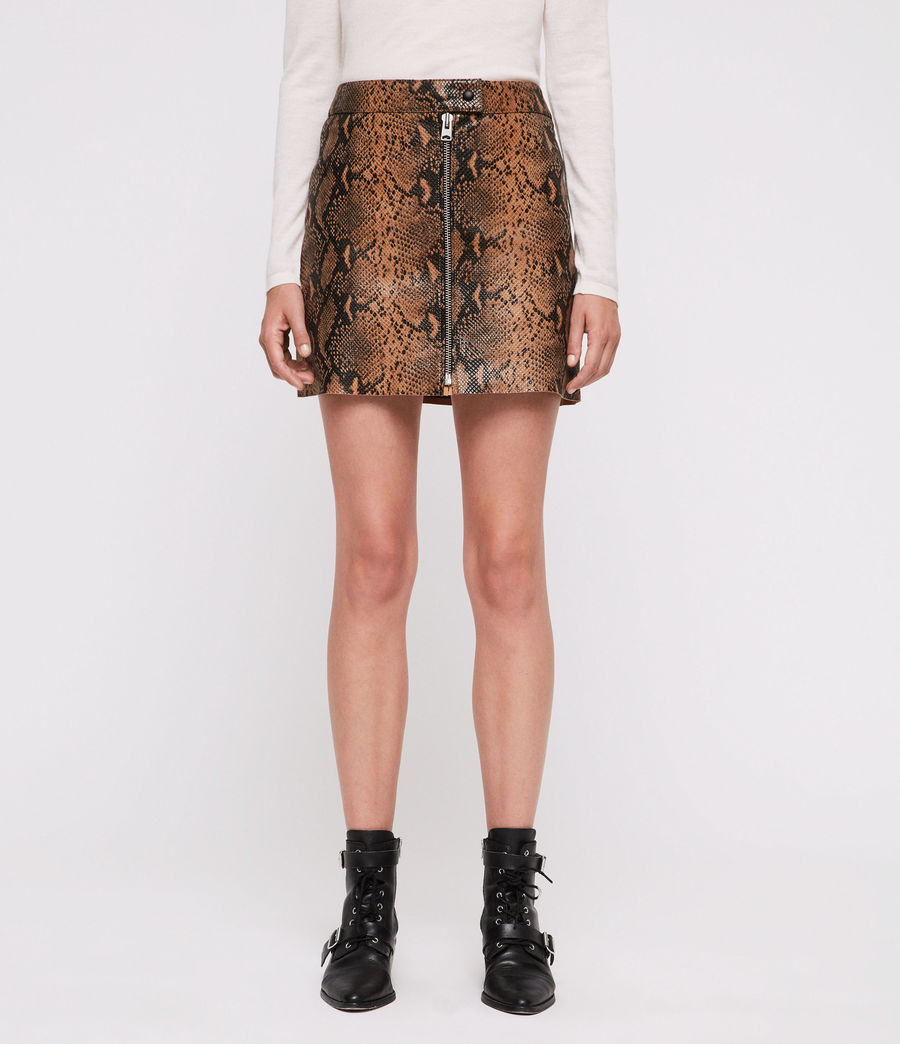 Women's Lena Oba Leather Skirt (snake) - Image 3