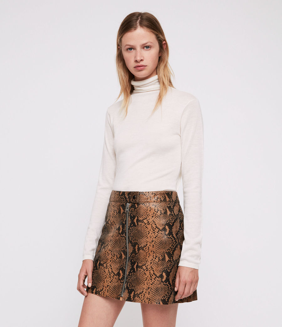 Women's Lena Oba Leather Skirt (snake) - Image 4