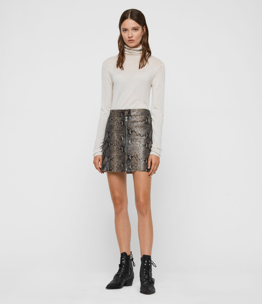 Womens Lena Oba Leather Skirt (snake_grey) - Image 1