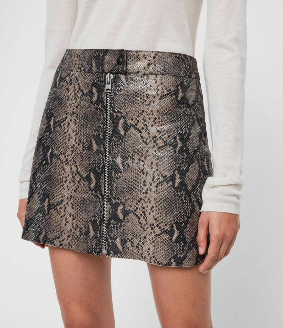 Womens Lena Oba Leather Skirt (snake_grey) - Image 2