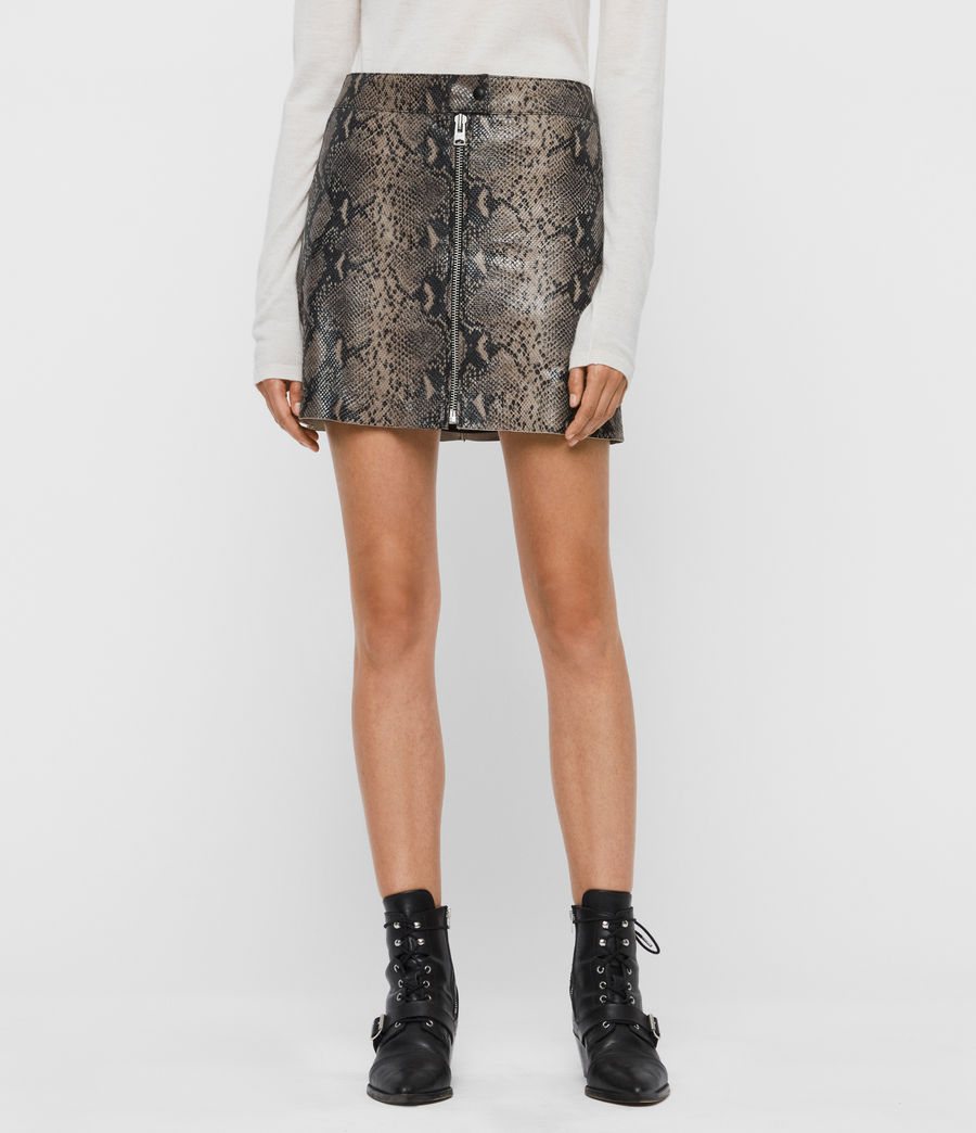 Womens Lena Oba Leather Skirt (snake_grey) - Image 3