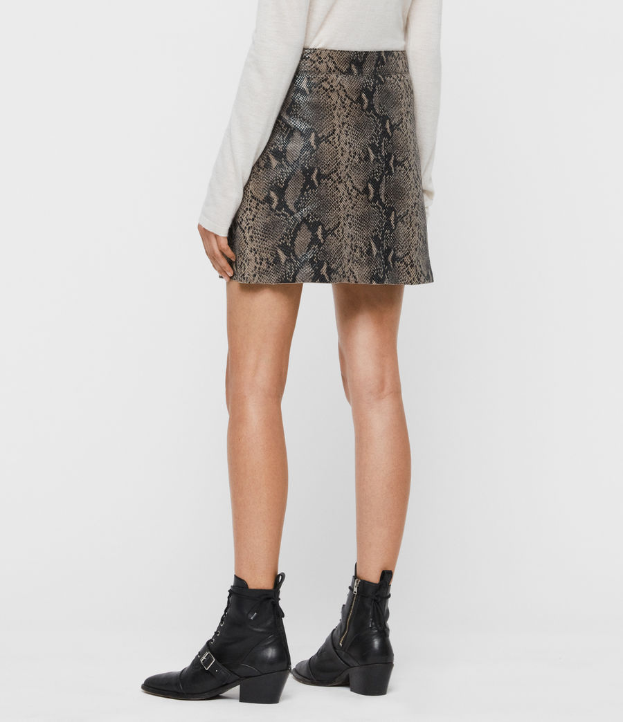 Women's Lena Oba Leather Skirt (snake_grey) - Image 5