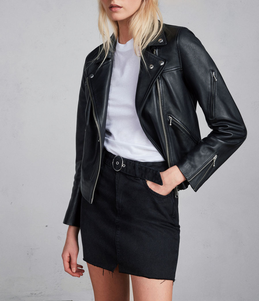 Womens Prescott Leather Biker Jacket (black) - Image 1