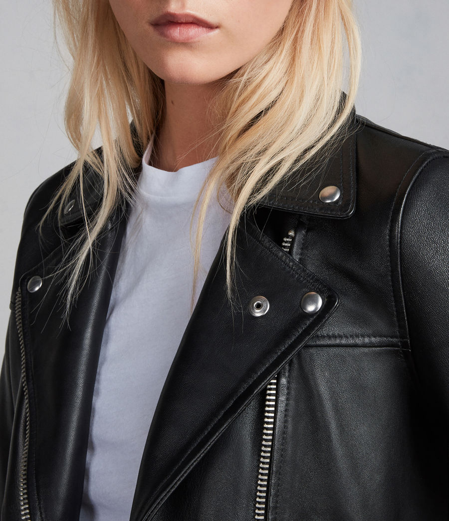 Womens Prescott Leather Biker Jacket (black) - Image 2