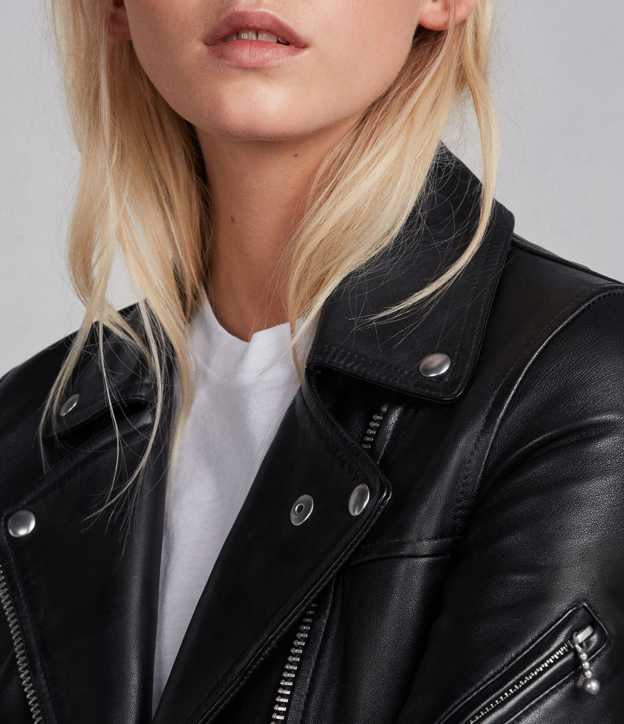 Womens Prescott Leather Biker Jacket (black) - Image 3
