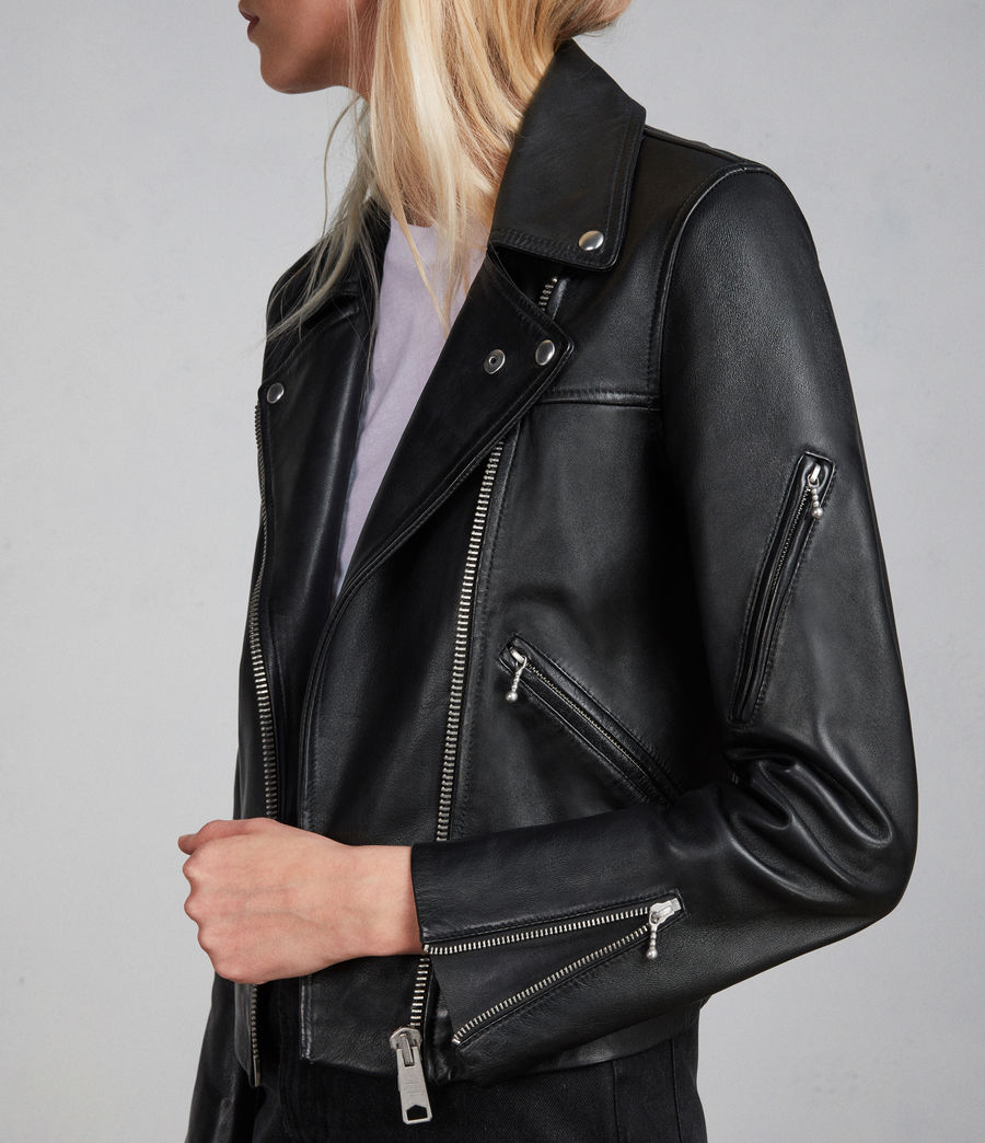 Womens Prescott Leather Biker Jacket (black) - Image 4
