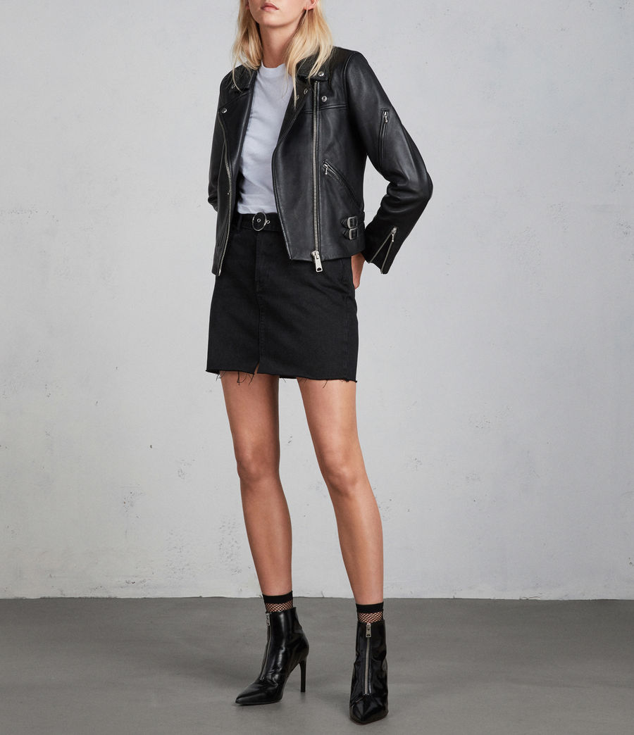 Womens Prescott Leather Biker Jacket (black) - Image 5