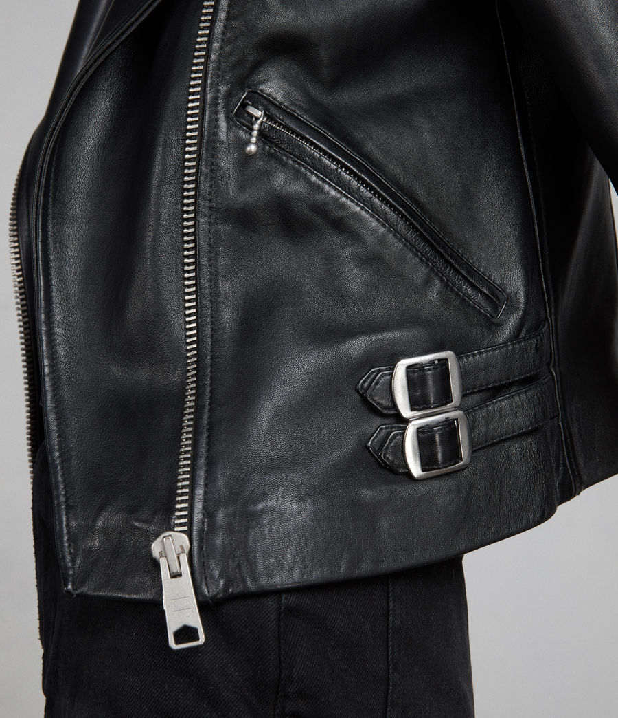 Womens Prescott Leather Biker Jacket (black) - Image 6