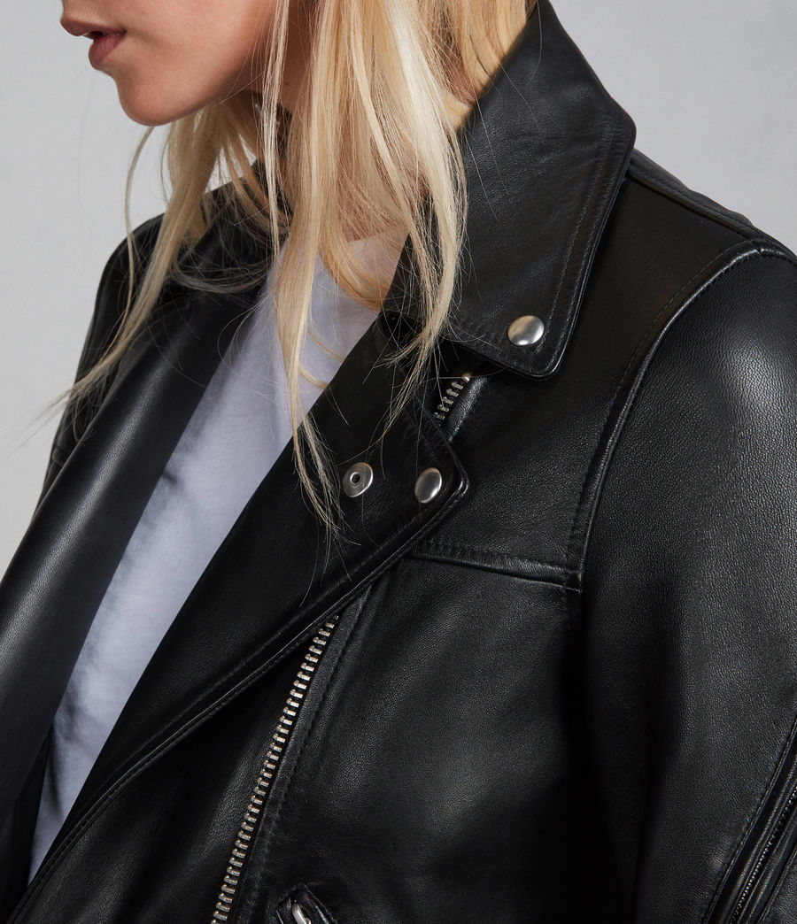 Womens Prescott Leather Biker Jacket (black) - Image 7