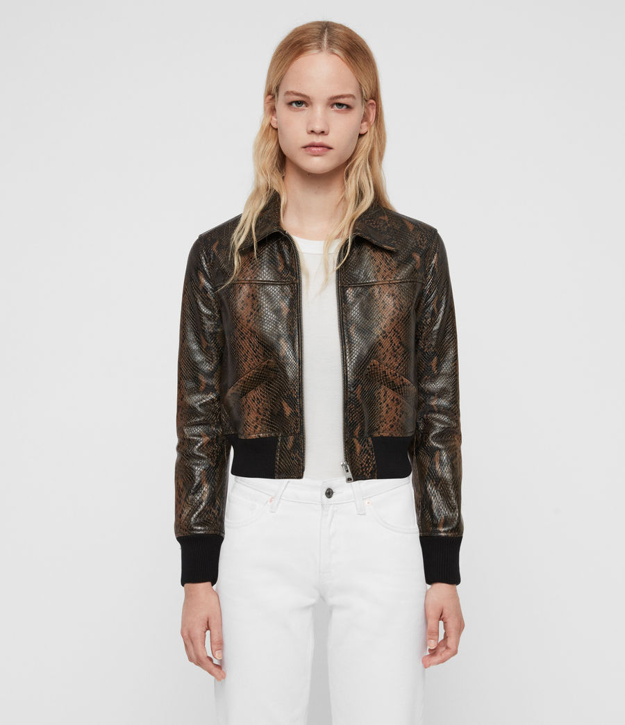 Womens Pascao Oba Leather Bomber Jacket (khaki_green) - Image 1